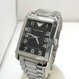 EMPORIO ARMANI エンポリオ アルマーニ 腕時計 アナログ クォーツ AR-0492 スクエア レクタンギュラー型 シルバー 文字盤ブラック ステンレス メンズ