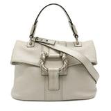 BVLGARI Bvlgari Leoni Handbag 2WAY Shoulder Bag Lion Metallic Leather Silver Off-White 34732