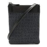 Bvlgari Mania Shoulder Bag Pochette Denim Canvas Leather Black 21527