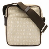 Bvlgari Mania Shoulder Bag Canvas Leather Beige Dark Brown