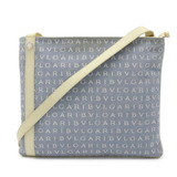Bvlgari Mania Shoulder Bag Canvas Leather Light Blue Water Ivory