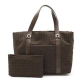BVLGARI Bulgari Mania Tote Bag Shoulder Canvas Leather Dark Brown 22281