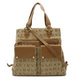 Bvlgari Maxi Rettare 2WAY Large Tote Bag Handbag Shoulder Canvas Leather Beige