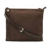 Bvlgari Mania Shoulder Bag Canvas Leather Brown