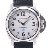 OFFICINE PANERAI Luminor Achaio PAM00630 Men's Stainless Steel Leather Watch Manual winding White dial
