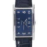 TIFFANY & Co. Tiffany East West Back Scale 36813946 Men's Stainless Steel Leather Watch Quartz Navy Dial