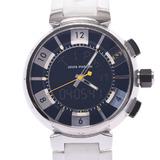 LOUIS VUITTON Louis Vuitton Tambour in Black Q118F Men's Stainless Steel Rubber Watch Quartz Dial