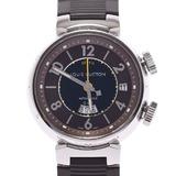 LOUIS VUITTON Louis Vuitton Tambour Reveil GMT Back Skelton Q1151 Men's Stainless Steel Rubber Watch Automatic Brown Dial