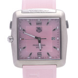TAG HEUER Golf Watch Professional WAE1114 Men's Stainless Steel Rubber Quartz Pink Shell Dial