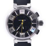LOUIS VUITTON Tambour in Black Q118F Men's SS / Rubber Watch Quartz Dial