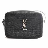 Saint Laurent Straw Leather Lou Camera Bag Shoulder Black