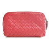 Bottega Veneta Intrecciato Leather Pouch Red