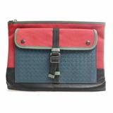 Bottega Veneta Intrecciato Leather Canvas Clutch Bag Document Case Multicolor
