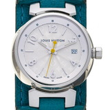 Louis Vuitton Tambour Ladies Watch Q121K Stainless Steel Silver Guilloche Arabian Dial