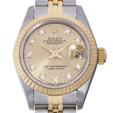 Rolex Datejust L Number 1989-1990 10P Diamond Ladies Watch 69173G Stainless Steel Champagne Gold Dial