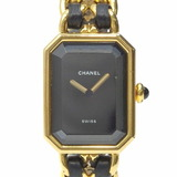 Chanel Watch Premiere Ladies Quartz GP SS Leather H0001 Gold Black Battery Powered