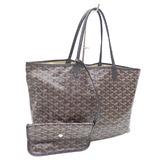 Goyard Tote Bag Saint Louis PM Ladies Black PVC Calf Leather Herringbone Sugi Aya Pattern
