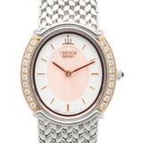 CREDOR SEIKO SS K18PG Watch Bangle Bezel Diamond Signo GSWE986 Silver Pink Ladies Stainless Steel K18 Gold
