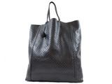 BOTTEGA VENETA Intreccio Mirage Tote Bag Shoulder Leather Black Embossed
