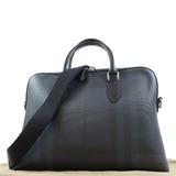BURBERRY plaid 2way bag shoulder PVC x leather navy black