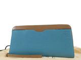 ロエベ(Loewe) LOEWE ロエベ    アナグラム バイカラー ラウンド長財布 レザー ブルー×ブラウン レディース