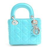 Christian Dior Leather Mini Lady Canage 2WAY Handbag Emerald Green