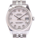 ROLEX Rolex Datejust 10P Diamond 178274NG Ladies WG / SS Watch Automatic Pink Shell Dial