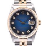 ROLEX Rolex Datejust 10P Diamond 16233G Men's YG / SS Watch Automatic Blue Gradient Dial