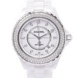 CHANEL J12 42mm bezel diamond 12P H2013 men's ceramic / SS watch self-winding dial