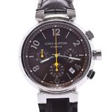 LOUIS VUITTON Tambour Chrono Q1121 Men's SS / Leather Watch Automatic Brown Dial