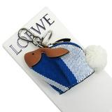 Loewe LOEWE Coin Case Keychain Charm Bunny Rabbit Brown Blue White Leather Wool