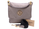 Loewe LOEWE 2way Bag Anagram Metallic Gray Leather Handbag Shoulder Ladies
