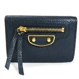 Balenciaga Tri-Fold Wallet Navy Leather Women's Men's 47059 ・ 4030 Y 532244