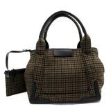 Balenciaga Handbag Tote Bag Navy Kabas S Brown Black Leather Wool 339933