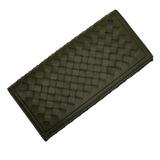 BOTTEGA VENETA Bi-fold long wallet Intrecciato khaki leather