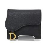 Christian Dior Dior DIOR SADDLE Lotus Wallet S5652CBAA-M900 Tri-Fold Black
