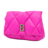 Balenciaga Clutch Bag Touch Puffy B Quilted Leather Pink 619450