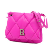Balenciaga Shoulder Bag Touch Puffy B Quilted Leather Pink 619449