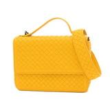 Bottega Veneta Intrecciato 2Way Shoulder Bag Lambskin Yellow 522922