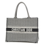 Christian Dior Dior Hound Tooth Embroidered Book Tote Small Canvas Black