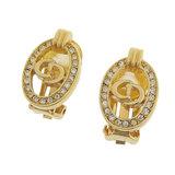 Christian Dior Oval Earrings Rhinestone Gold