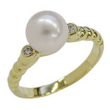 Christian Dior Pearl Diamond Ring 750YG Approximately No. 12 Polished