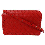BOTTEGA VENETA Intrecciato Shoulder Bag Leather Red 609231