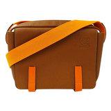 Loewe LOEWE Anagram Military Messenger XS Shoulder Bag Leather Brown Neon Orange