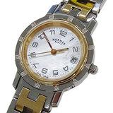 Hermes HERMES Watch CL4.222 Clipper Nacre 12P Diamond Shell Quartz Date Combination Ladies