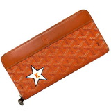 Goyard Orange Herringbone APMZIPGM Matignon Leather GOYARD Wallet Star K Print Men's Women's Unisex Long Round Zip