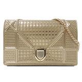 Christian Dior Diorama Shoulder Bag Leather Gold