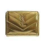 Saint Laurent V Stitch Tri-Fold Wallet Leather Gold 505118
