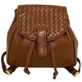 Bottega Veneta Rucksack Light Brown Intrecciato Flap Leather Lambskin BOTTEGA VENETA Ladies Mini