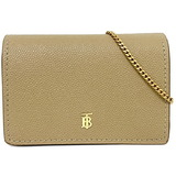 Burberry Bi-Fold Wallet Chain Shoulder Beige TB 8018970 1 Leather Ladies Grainy Card Case Detachable Strap